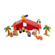 Kerststal met 13 figuren hout